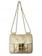 Sac Elsie Small en cuir métallisé doré et bandoulière chaîne Px boutique 1000€