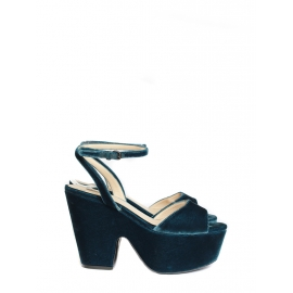 Peacock blue platform wedge sandals Retail price €600 Size 36