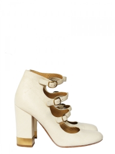 Multi-strap with gold buckles distressed cream leather pumps Retail price €600 Size 38