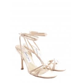 Sandales de mariée Juliet à talon fin en satin de soie beige rosé Px boutique 450€ Taille 37,5