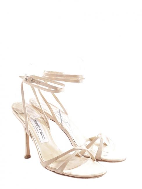 JULIET Pink beige satin silk heel bridal sandals with ankle strap Retail price €450 Size 37,5