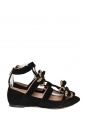 Black suede bow embellished crystal-edged cutout flat ballerinas Retail price $1290 Size 37