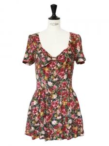 TOPSHOP Combi-short manches courtes en coton imprimé fleuri rose ocre et kaki Taille 36