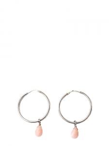 Boucles d'oreilles percées anneaux argent et perle goutte rose pâle