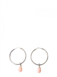 Silver pierced hoop earrings with pale pink pearl