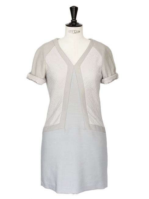 Light grey and beige wool and leather-paneled dress NEW Retail price $795 Size 36
