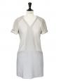 Robe graphique en cuir et laine beige et gris clair NEUVE Px boutique 695€ Taille 36