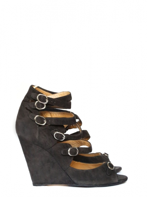 Multi-strap dark grey suede leather wedge sandals Retail price €595 Size 37
