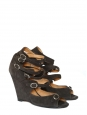 Sandales compensées multi-brides en daim noir gris anthracite Px boutique 595€ Taille 37