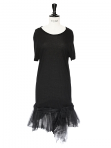Black tulle and modal jersey cocktail dress Retail price €450 Size 34