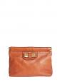 Pochette clutch LILY en cuir orange corail et noeud métallisé or Px boutique 500€