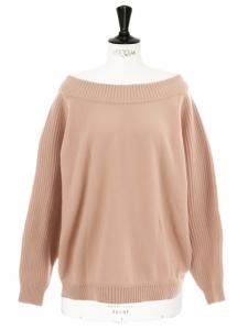 Pink beige wool crew neck oversize jumper Retail price €920 Size 36