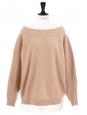 Pull oversize col bateau en laine beige rosé Px boutique 920€ Taille 36