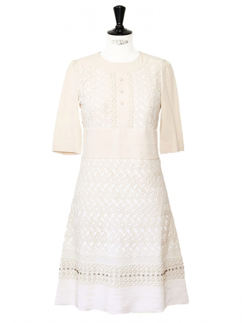 Nude silk crepe and white lace dress embroidered with Swarovski crystals Retail price €3500 Size 36