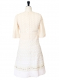 CHLOE Light beige silk and white lace dress embroidered with Swarovski crystals Retail price €3500 Size 36