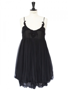 Black silk chiffon embroidered dress Retail price €1300 Size 36