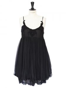 Mini-robe boule en mousseline de soie noire et broderie Px boutique 1300€ Taille 36