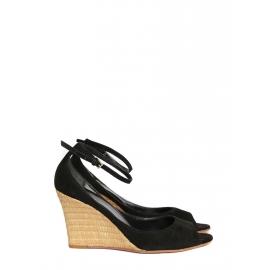 Sandales compensées bambou et suède noir NEUVES Px boutique 500€ Taille 37