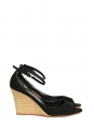 Black suede and bamboo wedge sandals Retail price €500 Size 37