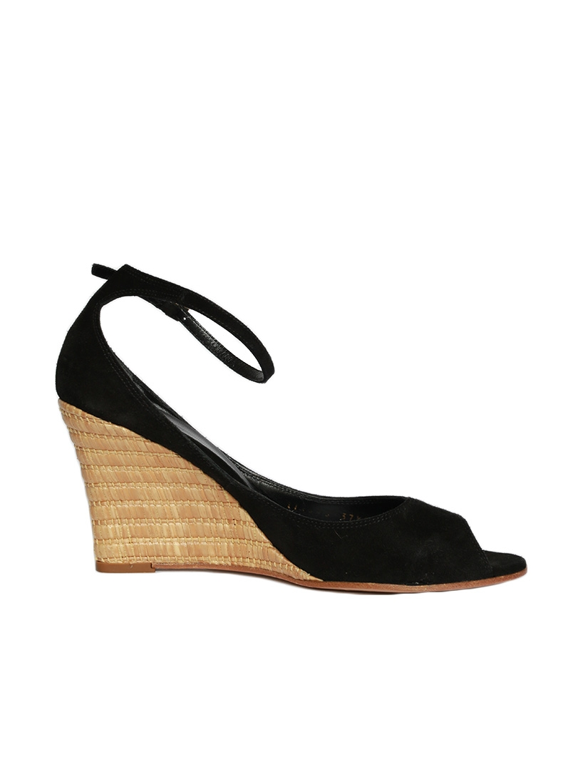 d7320c2f6174 Louise Paris - GUCCI Black suede and bamboo wedge sandals Retail ...