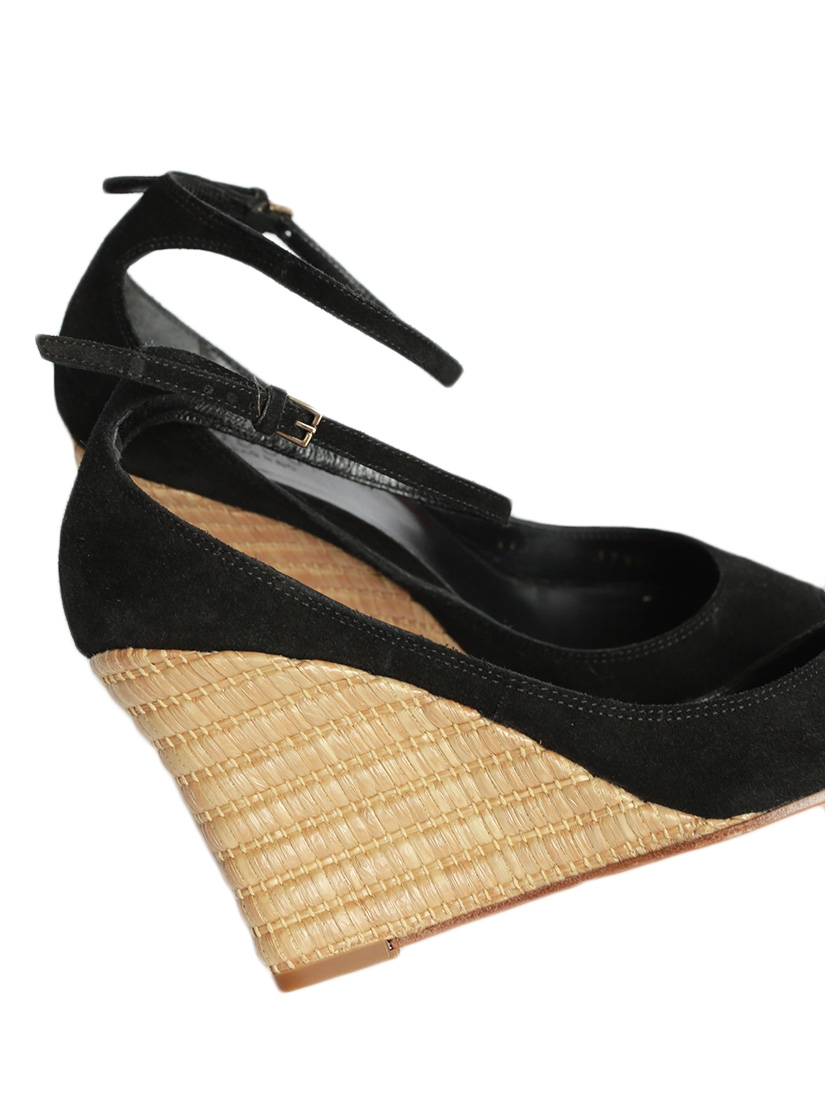 Louise Paris Gucci Black Suede And Bamboo Wedge Sandals