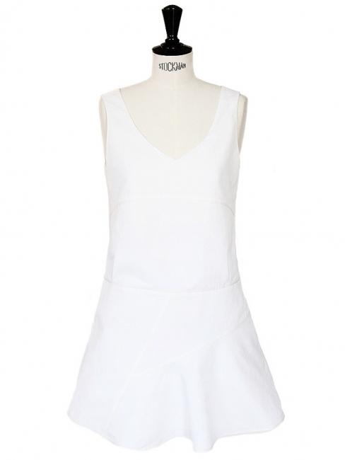 White linen and silk sleeveless dress Retail price €1200 Size 36