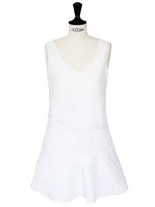 White linen and silk sleeveless dress Retail price €1200 Size 36