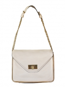 Sally pink beige grained leather shoulder bag and gold chain Retail price €1710