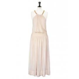Braided-chain halter neck pink beige silk dress Retail price €1500 Size 36