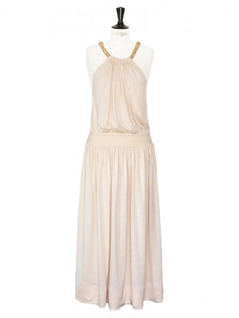 Robe de cocktail dos ouvert en soie beige rosé à bretelles tressées Px boutique 1500€ Taille 36