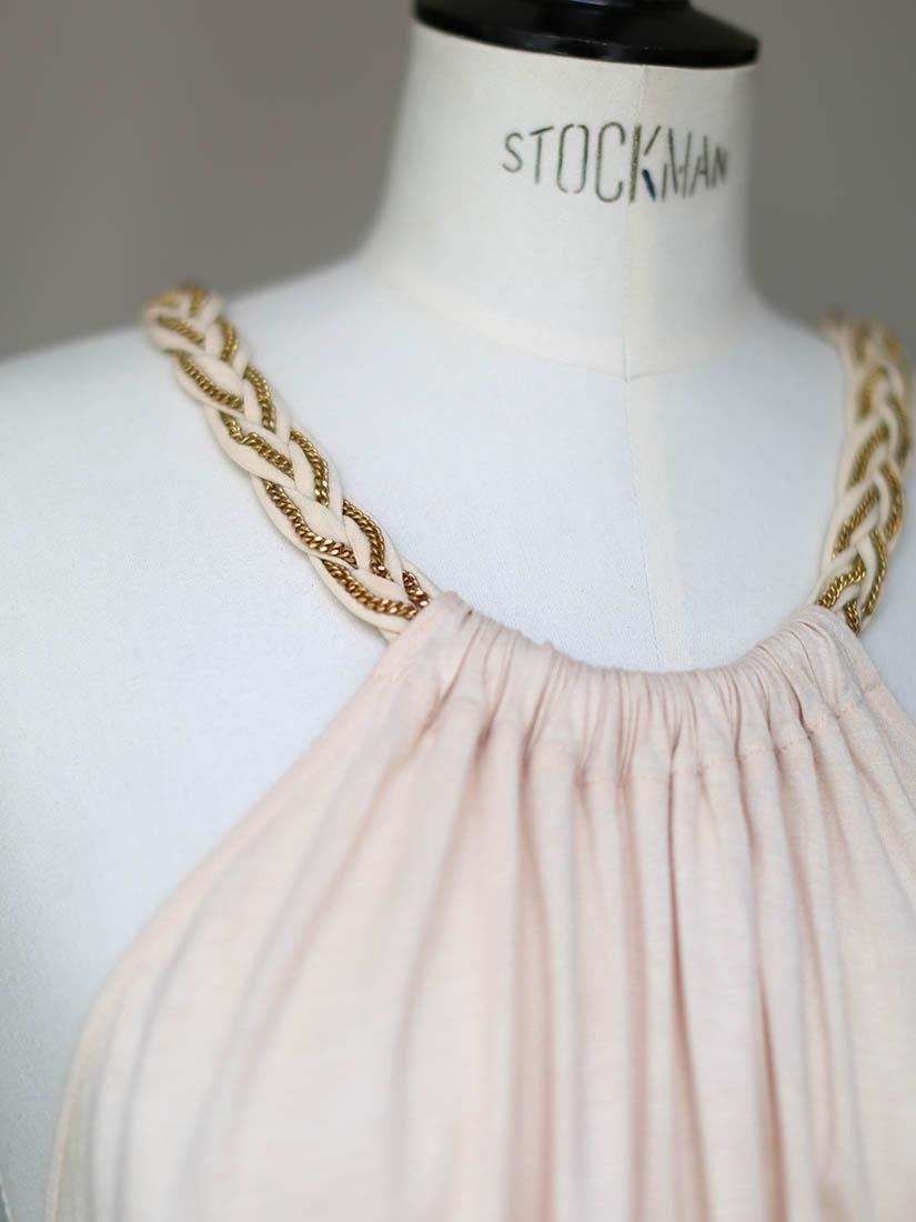 Louise Paris Chloe Braided Chain Halter Neck Pink Beige