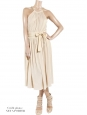 Robe dos ouvert en soie beige rosé à bretelles tressées Px boutique 1500€ Taille 36
