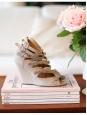 Sandales multi strap compensées en suède beige rosé Px boutique 600€ Taille 36,5