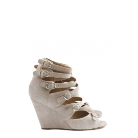 Beige pink multi-strap wedge sandals Retail price $760 Size 36.5