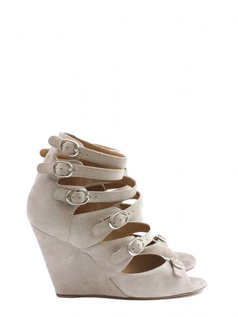 Sandales multi-strap compensées en suède beige rosé Prix boutique 600€ Taille 36,5