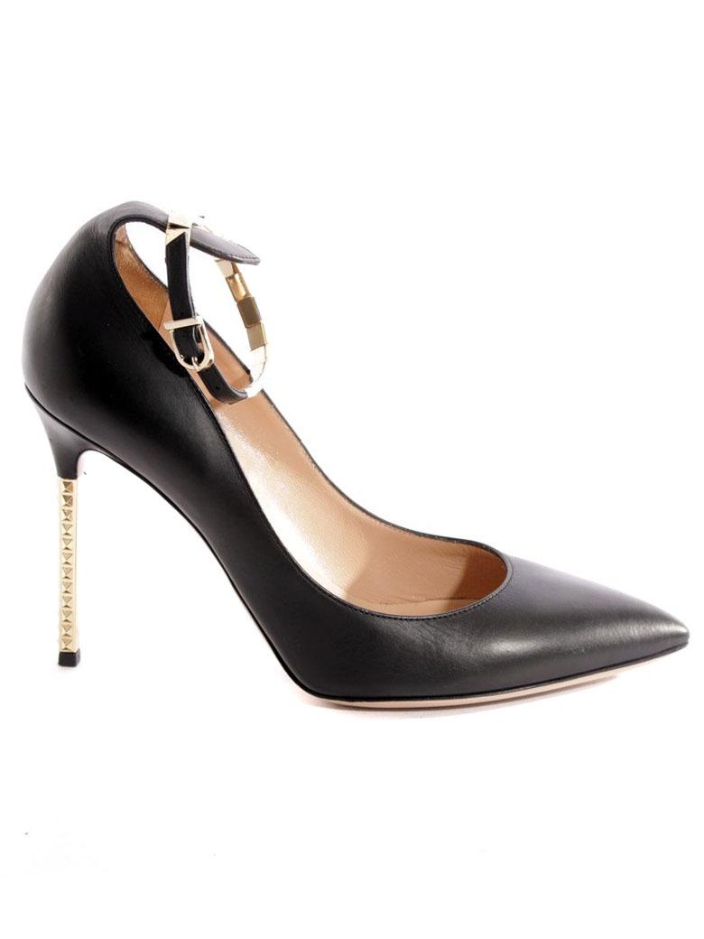 d583756f2166 ... Escarpins en cuir nappa noir et talons à studs dorés NEUFS Px boutique  665€ Taille ...