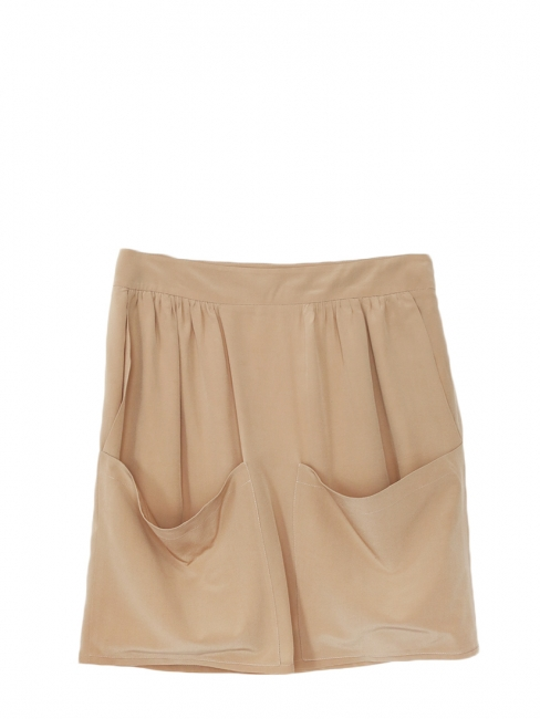 Beige silk crepe front pocket skirt Retail price €500 Size 34
