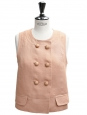 Peach pink linen sleeveless buttoned top Retail price €900 Size 38