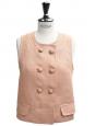 Top sans manches à boutons en lin rose Px boutique 900€ Taille 38