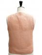 Top sans manches à boutons en lin beige rosé Px boutique 900€ Taille 38