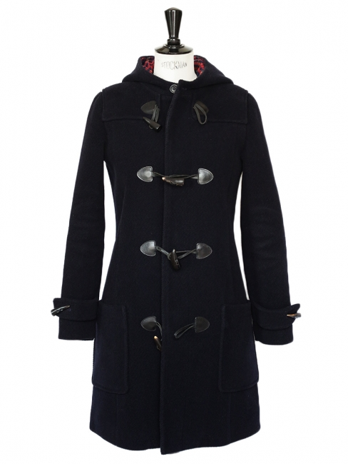 Navy blue wool and check print duffle coat Retail price €650 Size S