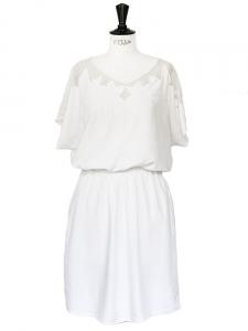 Robe en coton brodé et dentelle blanche Taille 38