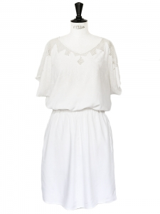 White lace and embroidered cotton dress Size 38