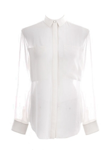 White silk see through long sleeves blouse Retail price €250 Size 36