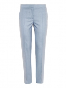 Light blue Anna wool crepe slim fit zipper pants Retail price €560 Size 34