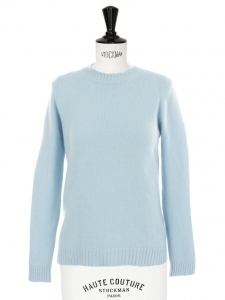 Sky blue soft and warm V neck cashmere sweater Retail price €550 Size S/M