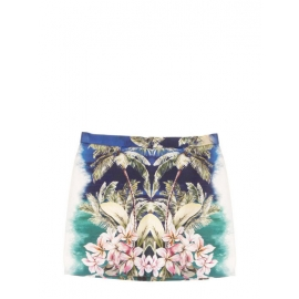 Hawaiian-print cotton-sateen mini skirt Retail price €600 Size 36