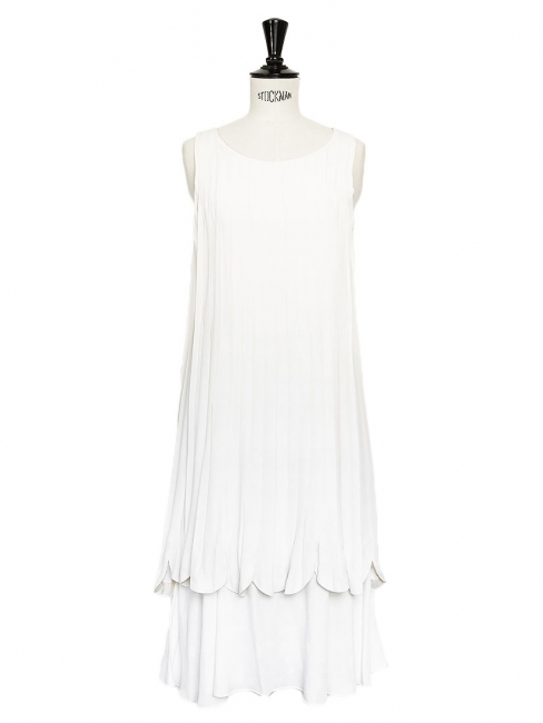 Ivory white silk crepe pleated cocktail or bridal dress Retail price €2000 Size 34