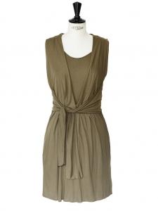 Khaki silk jersey sleeveless dress Retail price €520 Size 36/38