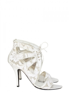 Ankle white leather and lace heel sandals Retail price €640 Size 37